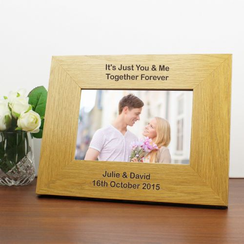 Personalised Oak Finish 6x4 Landscape Frame - Long Message